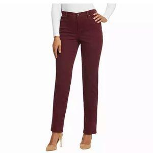 Burgundy straight leg jeans